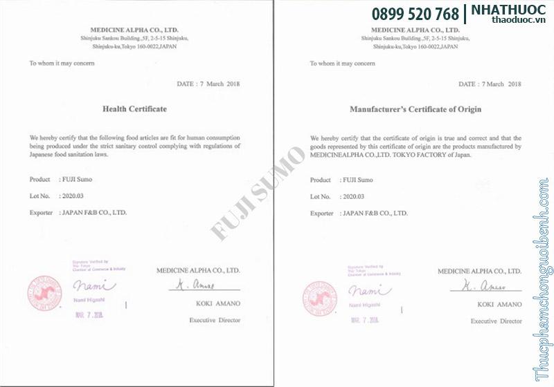 giấy chứng nhận viên uống fuji sumo