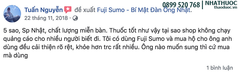 phản hồi khách hàng dùng viên uống fuji sumo